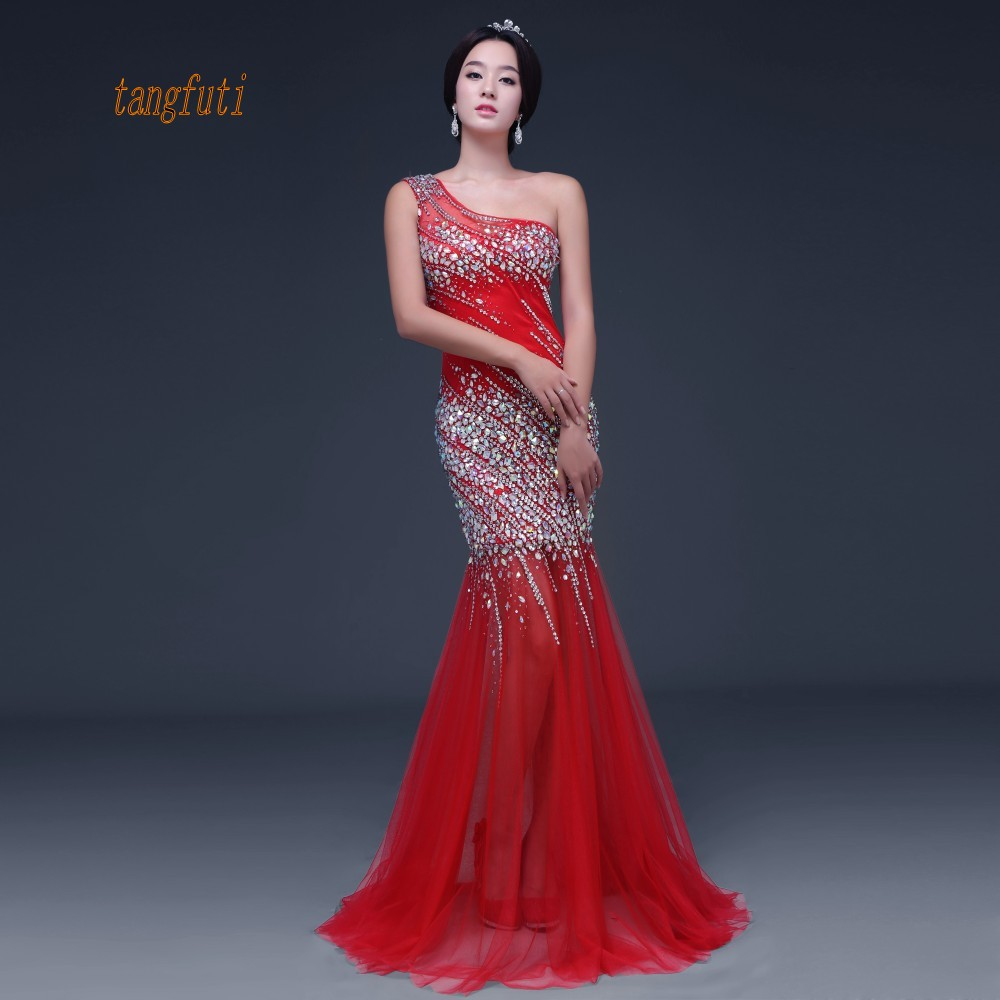 Long   Evening     Dresses   One Shoulder Major Beading Crystals Mermaid Long Formal Party   Dress   Tulle Gown