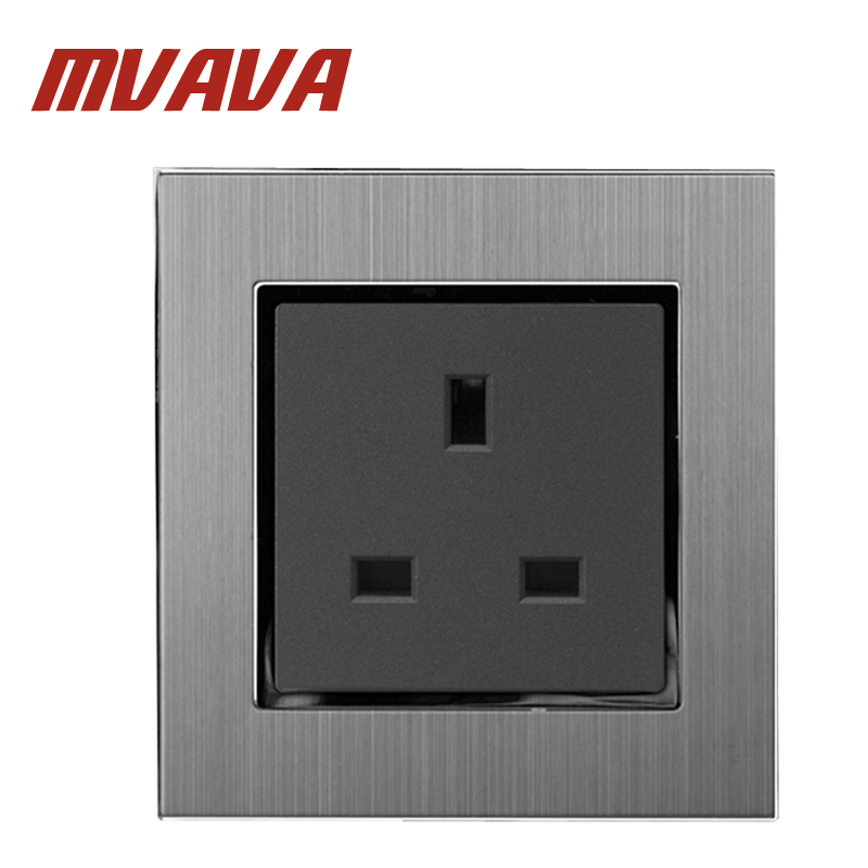 Luxury UK Style Standard Wall Socket 13A 110 250V Decorative Wall Plug Power Socket Satin Metal Silver Panel in Electrical Sockets from Home Improvement