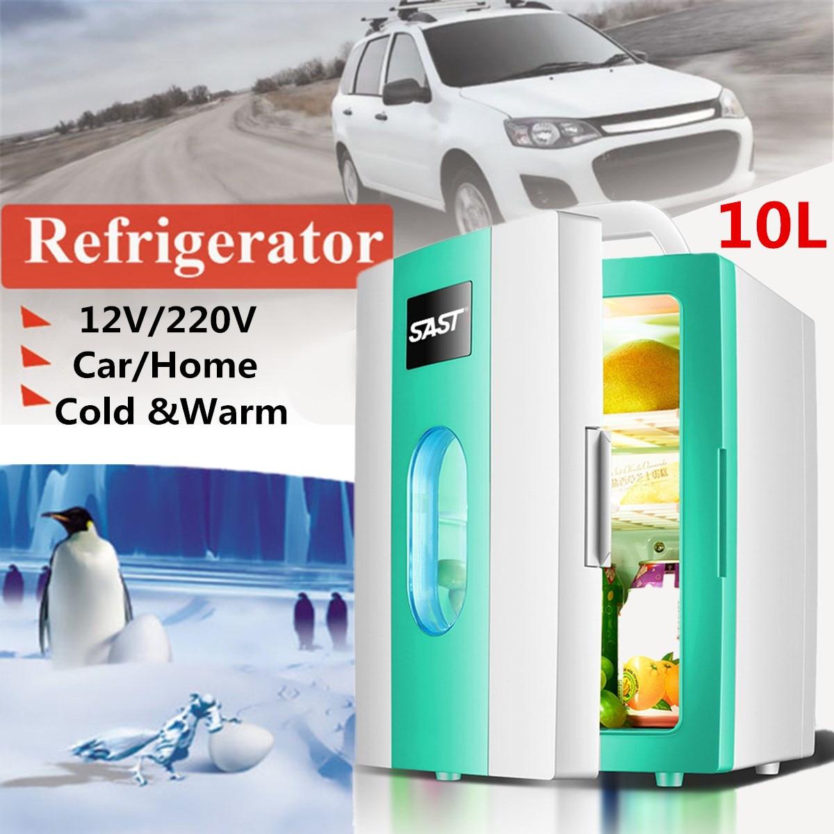 10L Portable Mini Refrigerator 12V/220V Car Camping Home Fridge Cooler/Warmer Portable Handle Low Noise Freezer Refrigerator