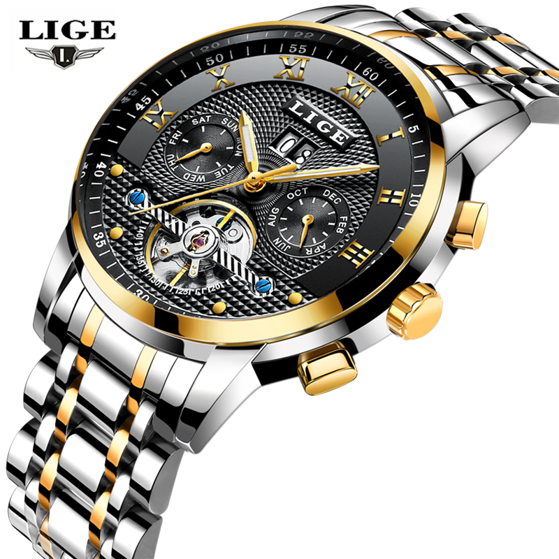 2018 LIGE Men's Skeleton Wrist Watch Stainless Steel Antique Design Automatic Mechanical Watches Male Clock Fashion Sport Watch все цены