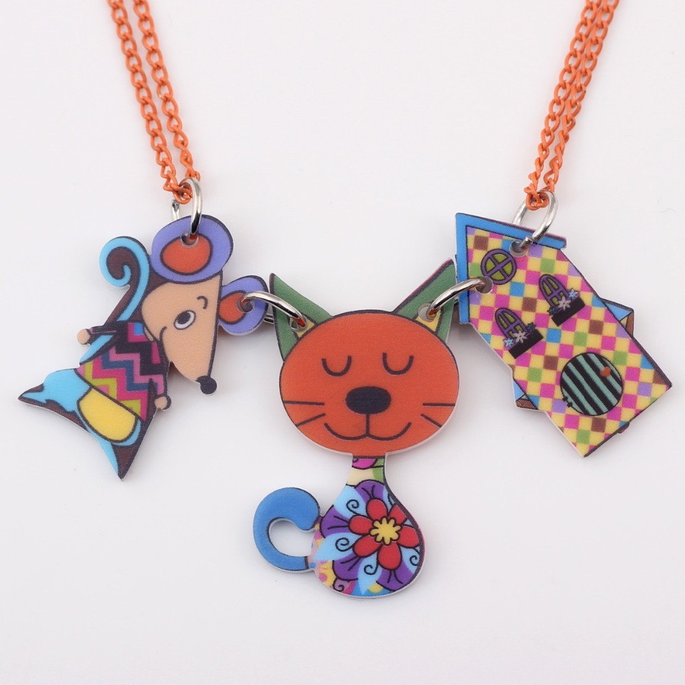 Newei cat necklace pendant acrylic pattern news accessories spring ...