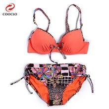 COOCLO 2019 חדש הגעה נשים לדחוף למעלה בתוספת גודל בגדי ים בגד ים ברזלים מרופד ביקיני סט בגד ים בציר חוף ללבושwear beachwear womenswomen wearing bikini