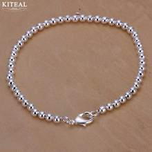 925 fashion Elegant Gold/ silver plated 4MM 6mm 8mm 14cm 16cm 18cm 20cm beads chain women lady cute kralen Bracelet jewelry H198(China)