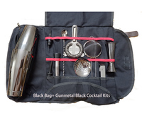 Free Shipping Cocktail Tool Set Bartender Kit Portable Tote Bag,Cocktail Bar Tool Set Padded,Portable Bar Case Bag for Travel
