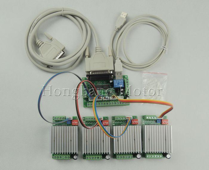 CNC mach3 маршрутизатор 4 оси комплект, TB6600 3 оси шагового двигателя котроллеру водитель 4.5A + один 5 коммутационная плата со стержнем для nema23 двиг...