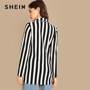 Image 2 - SHEIN Black And White Notch Collar Striped Textured Blazer Women Spring High Street Long Sleeve Single Button Casual Outer