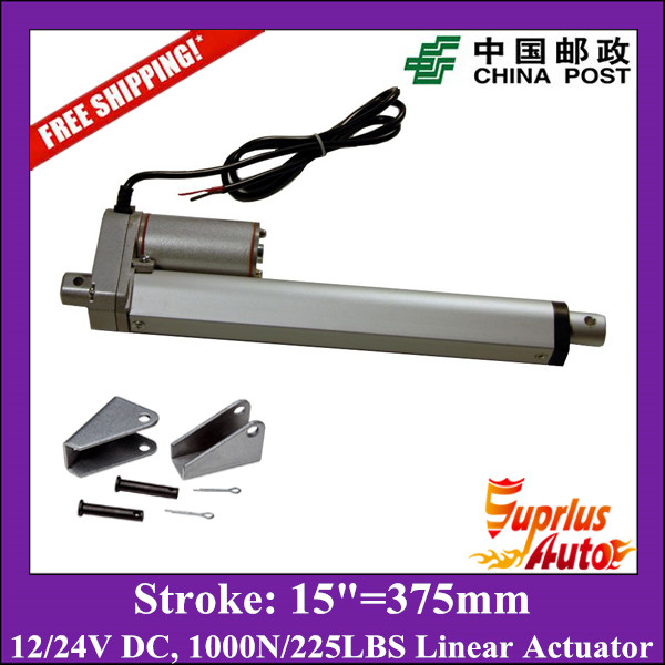 Free Shipping 12V, 375mm/ 15inch stroke, 1000N/100KGS/225LBS load linear actuator with mounting brackets send by China Post free shipping dc 12v 5inch 125mm linear actuator 1000n 100kgs 225lbs thrust load line actuator with mounting brackets