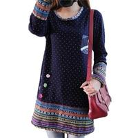 Plus Size Dresses For Women 4XL Winter Fleece Long Sleeve Polka Dot Printed Stereo Flower Dress