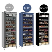 NEW 10 Tier Shoe Shelves Canvas Shoe Stool Storage Wardrobe Rack Rail Shoe Organizer Zipper Permanent Sapateira Organ Cabinet