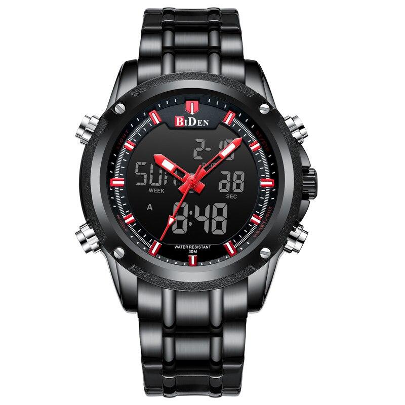 BIDEN TOP marque de luxe hommes montre Sport montres pour hommes numérique Quartz affaires bande en acier étanche horloge Reloj Hombre - 3