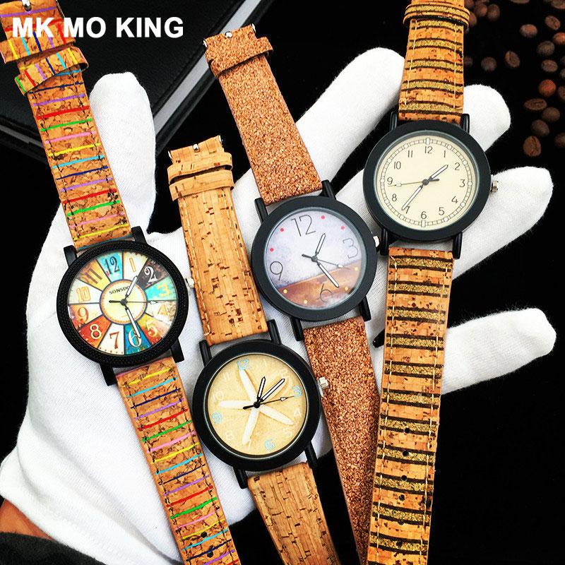 Fashion Couple Watch Simple Men's / Women's Wood Grain Creative Clock Casual Leather Ladies Wrist Watch Clock Bracelet Parejas