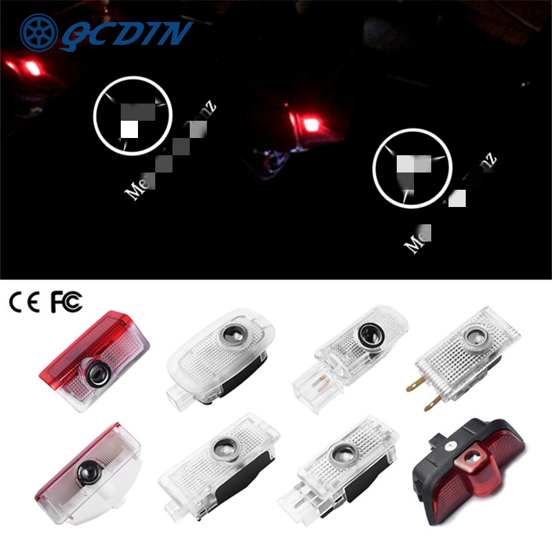 QCDIN For Mercedes Benz OEM LED Car Welcome Light Door Logo Courtesy Lamp Projector Light For Mercedes Benz No Drilling