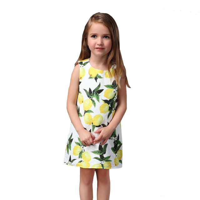 New baby and mom dress girl Sleeveless clothing Family look  lemon dress kids clothes fashion girl party dresses Slim Cute Dress