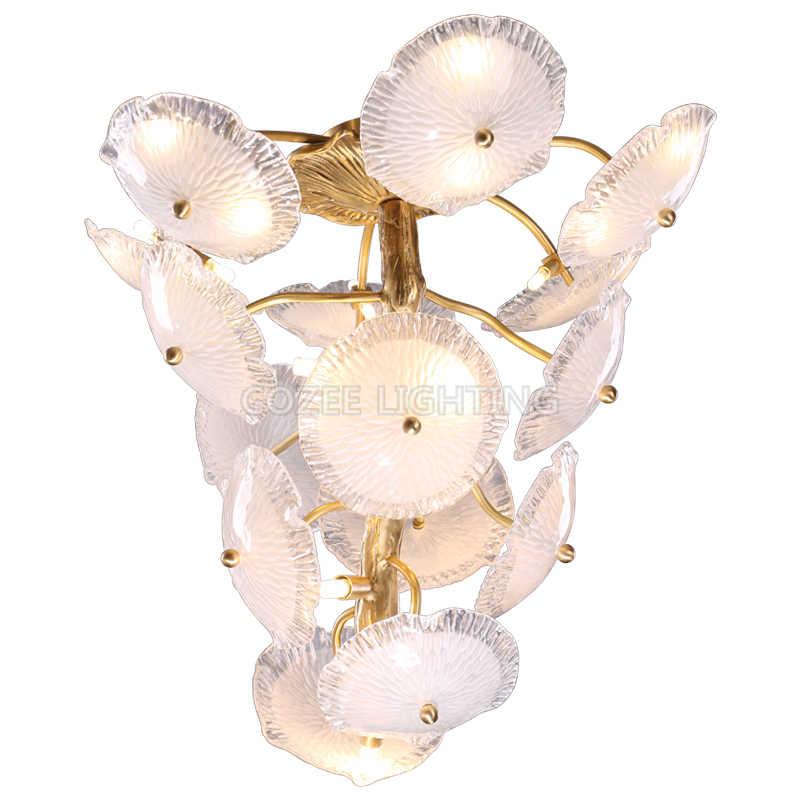 Современная медная люстра со светодиодным освещением люстры Стеклянная Люстра лестница медная Подвесная лампа для гостиной столовой