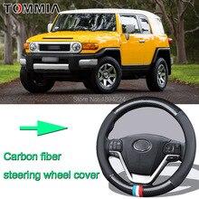 38CM Size M Rubber Carbon Fiber Leather Car Steering Wheel Cover Non-slip breathable For Toyota FJ CRUISER