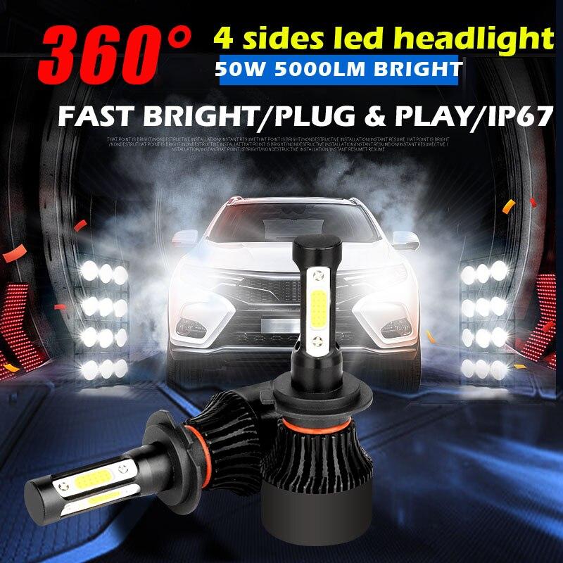 360 degree 4 sides led COB Car Headlight H7 H4 LED H11 9006 9005 50W 10000LM 6500K HB3 HB4 light360 degree 4 sides led COB Car Headlight H7 H4 LED H11 9006 9005 50W 10000LM 6500K HB3 HB4 light