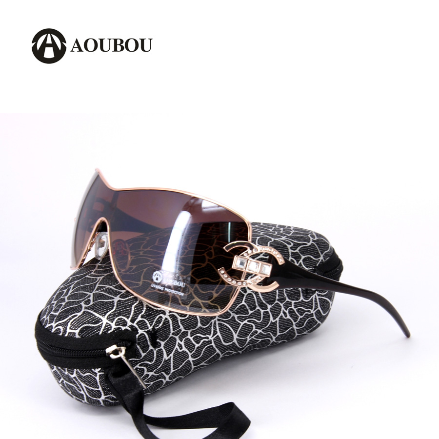 AOUBOU Luxury Diamond Logo Silver Sunglasses Women Brand Design Gold Frame Gradient Goggle With Box Oculos De Sol Feminino 6001