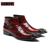 Men S Shoes High Quality Italian Fashion Genuine Leather Hip Hop Style Locomotive Boots Brush Iron