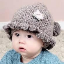 Linda Primavera Bebê Chapéu de Malha Outono Inverno Coreano Engrossado  Chapéus Crianças Meninas Tampas Do Bebê 5bffbefbafd4