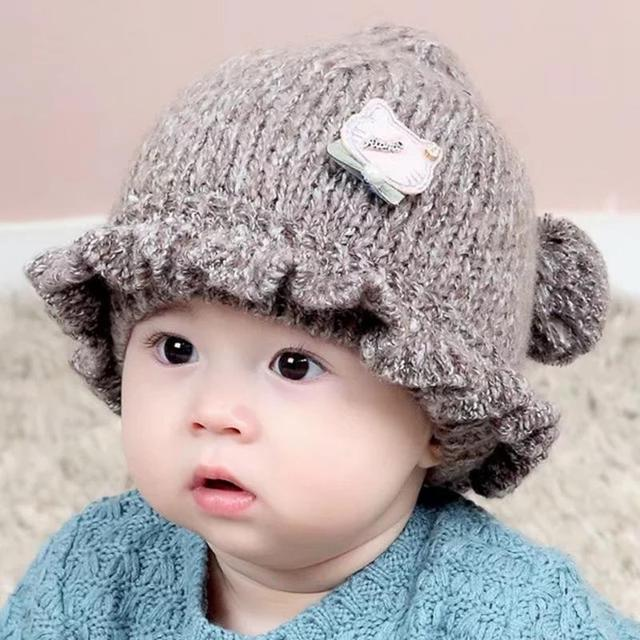 349fcffe068 Lovely Spring Baby Knitted Hat Autumn Winter Korean Thickened Hats Kids  Girls Baby Caps Photo Props