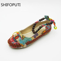 Plus size42 Casual Flat Shoes New Women Flats Handmade Beaded Ankle Straps Loafers Zapatos Mujer Retro Ethnic Embroidered Shoes