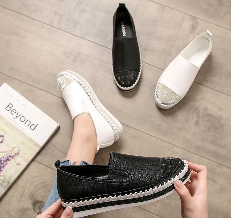 European Famous Brand Patchwork Espadrilles Shoes Woman Genuine Leather Creepers Flats Ladies Loafers White Leather Moccasins 3