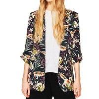 2017 áo mùa hè phụ nữ casual in blazer phụ nữ ngắn tay áo womens quần áo cardigan phụ nữ cơ bản áo khoác