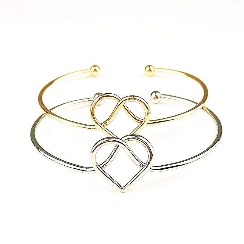 2018 Hot New Fashion Adjustable Heart Bow Bilezik Cuff Opening Bracelet Women Jewelry Gift Mujer Pulseras