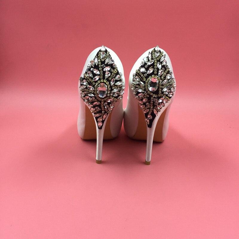 Champagne Satin Wedding Shoes Rhinestones Platform High Heels Peep Toe Slip-on  Bridal Pump Shoes For Women Crystal Shoes c98ad00257ee
