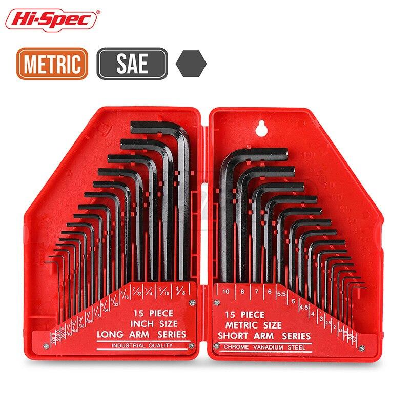 Hi-Spec 30pc Universal Hexagonal Key Set Metric/ Imperial Allen Key L Shape Bike Torque Wrench Set CRV Steel Spanner Set ST30097 цены