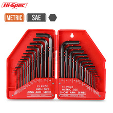 Hi-Spec 30pc Universal Hexagonal Key Set Metric/ Imperial Allen L Shape Bike Torque Wrench CRV Steel Spanner ST30097