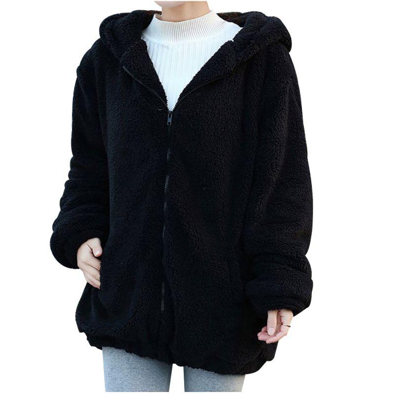 Winter Women Zipper Girl Warm Outwear Cute Cartoon Bear Ear Hoodie Baggy Coat Jacket Outerwear Coat
