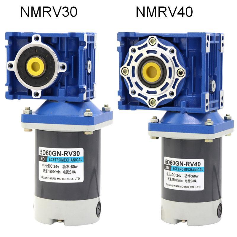 60W NMRV40 Worm Gear Motor 12V 24V DC Worm Reducer Motor RV40 Self-locking Gear CW CCW