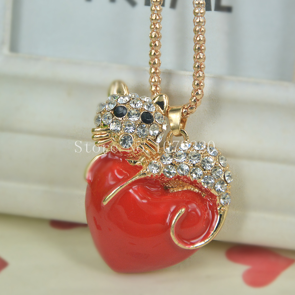 Red Heart Cat Sweater Bead Necklace Jewelry Crystal Women Long Necklace Pendants Rhinestone Chain Christmas Valentines Gift