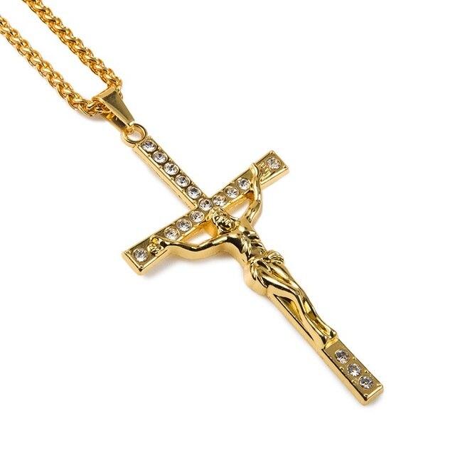 Fashion Charms Male Jesus Cross Necklace Men Hip Hop Chains Design