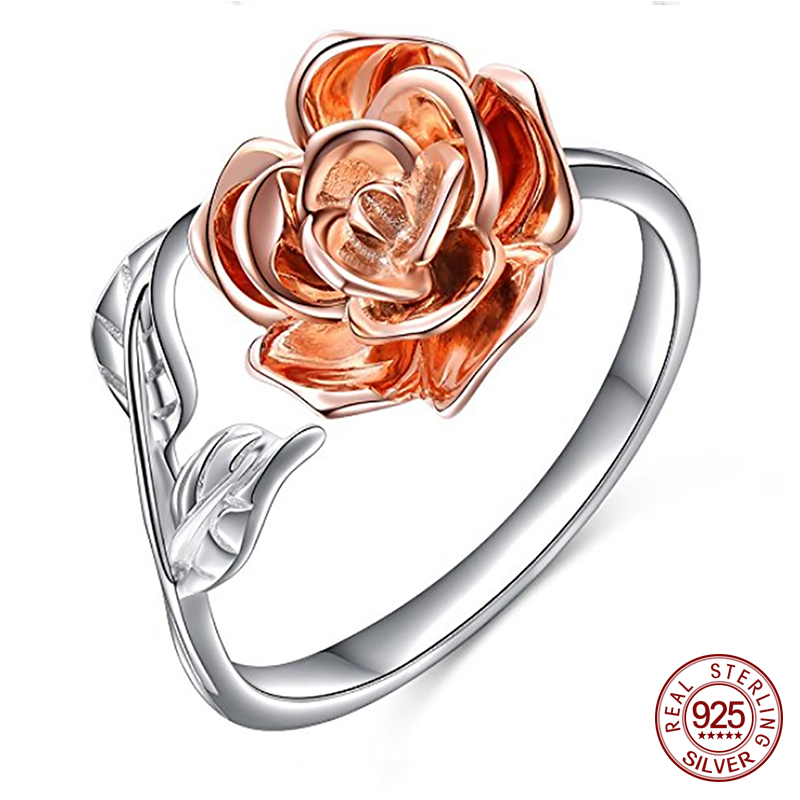 Retro 925 Sterling Silver Rose Flower Rings Crystal Antique Open Wrap Ring New Design for Women Wedding Jewelry Gift ZK30