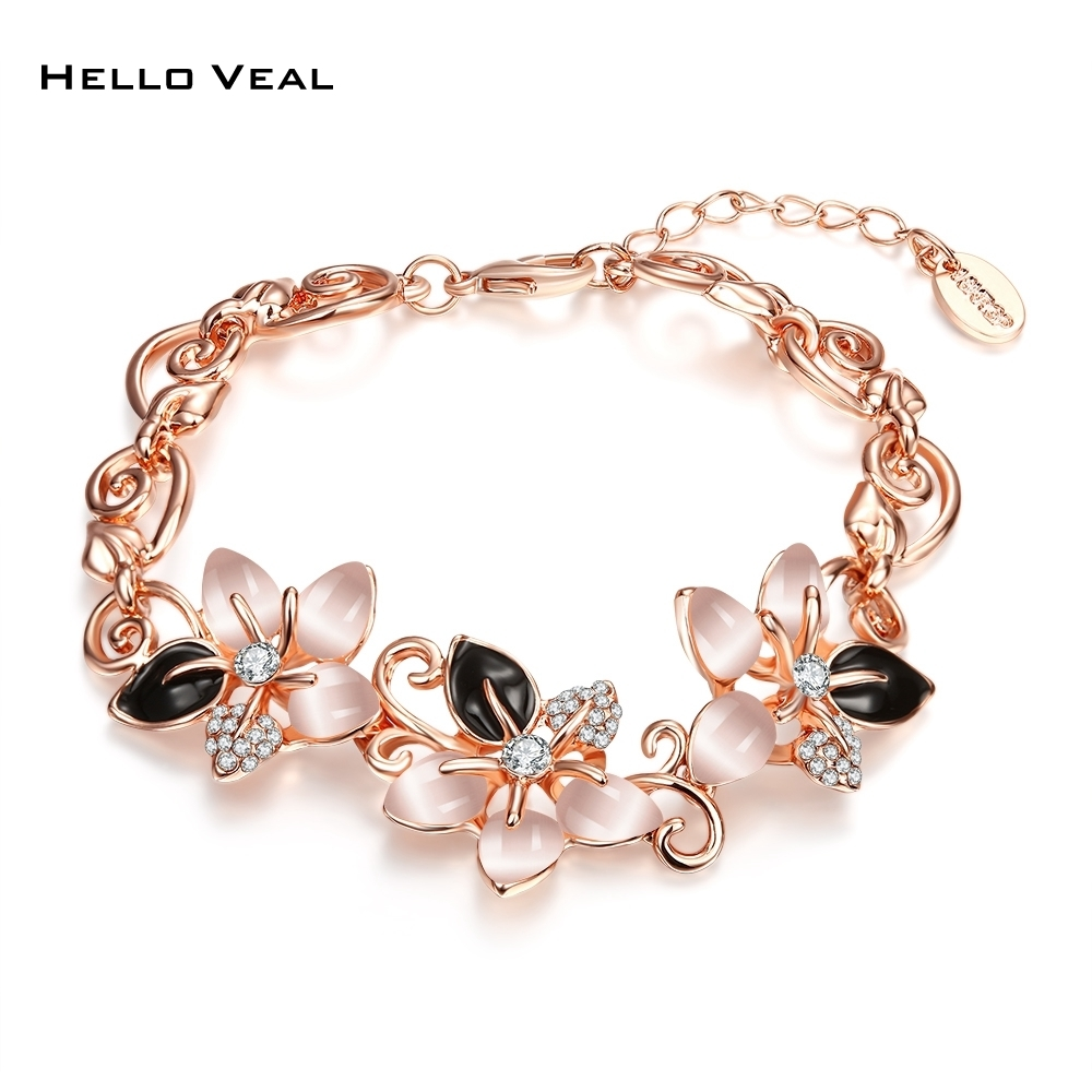 Rose Gold Armband Us 13 83 Rose Gold Color Opal Cuff Bracelets Bangles Czech Drill Oil Drop Flower Trendy Armband Femmes Jewelry Adjustable Schmuck Gift In Chain