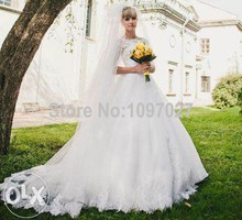 Ball Gown Appliqued Half Sleeve Plus Size Wedding Dresses With Sleeves White Tulle Bridal Dresses Abiti Sposa AS16