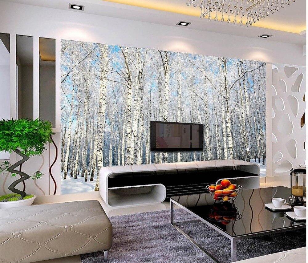 US $12.6 65% OFF|Benutzerdefinierte 3d fototapete Winter schnee landschaft  bäume wohnzimmer TV hintergrund schlafzimmer 3d fototapete-in Tapeten aus  ...