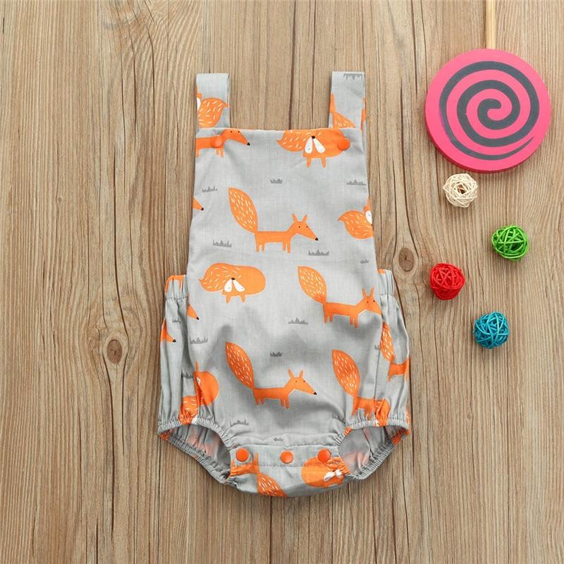 Toddler Baby Fox Floral Print Vest Sleeveless Cartoon Backless Romper Jumpsuit