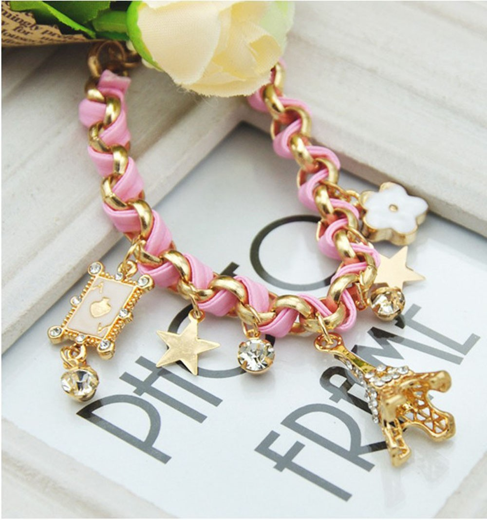 Vienkim New Hot sell  Fashion Jewelry Multielement Gold Chain Leather Rope Crystal Handmade Bracelet Eiffel Tower Star Pendant 10