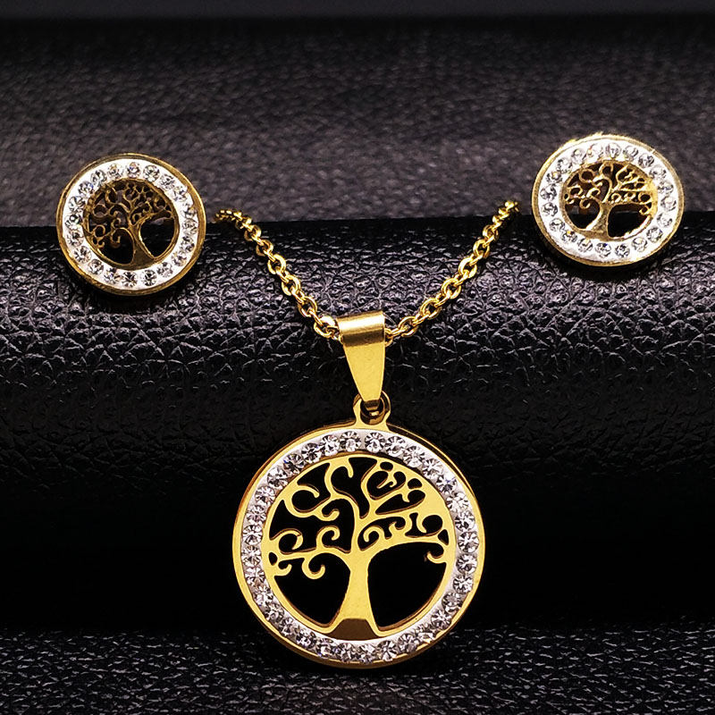 4ef0ccf03d37 Conjuntos de joyas de acero inoxidable para mujer