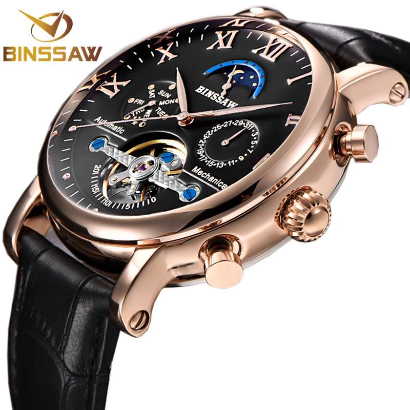BINSSAW Men Automatic Mechanical Tourbillon Watch Fashion Casual Leather Calendar Moon Phase Sports Watches Relogio Masculino