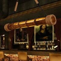 90 см природа плетеная бамбук Nordic Ретро Лофт Стиль LED Открытый Подвесные Светильники творческие выгравированы подвесной светильник Lamparas