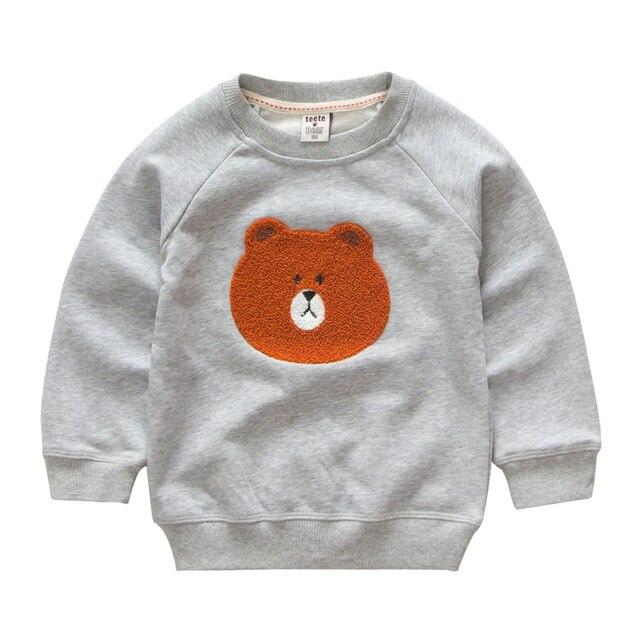 Мужская одежда весной и Осенью Медведь печати Baby Дети Свитер хлопка с длинным рукавом детский мультфильм Толстовки и Кофты