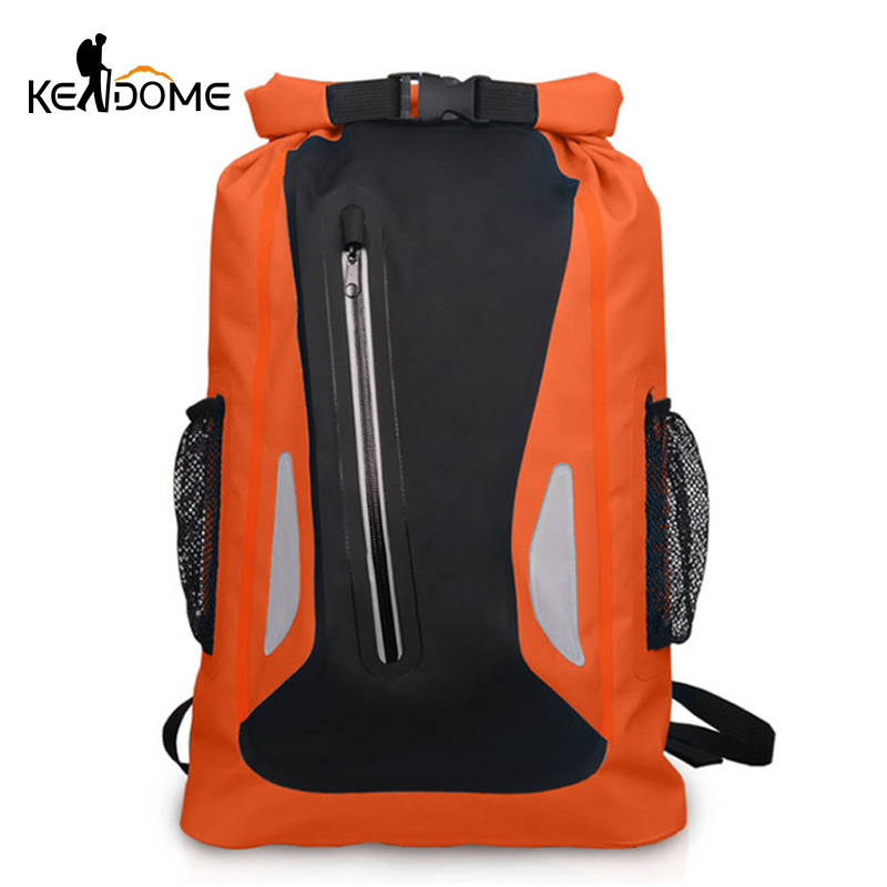 25L Reflective Strip Sports Swimming Backpack PVC Net Waterproof Bucket Drifting Organizer Beach Bag River Trekking Bag XA687WD