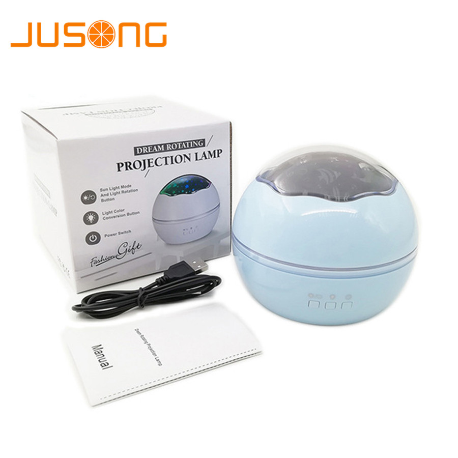 JUSONG Night Light Projector Spin Starry Sky Star Master Rotating Children Kids Baby Sleep Romantic Led USB Lamp Projection