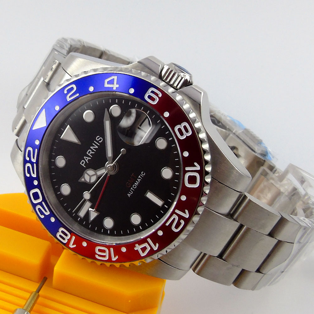 40mm Parnis Black Dial Sapphire Glass GMT Luminous Hands SS Case Luxury Brand Blue & Red Bezel Automatic movement men's Watch