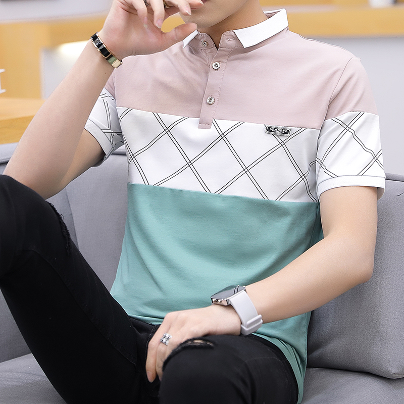 2019 Fashion Men's summer pure cotton Color matching short sleeve   POLO   shirts/Male slim High-end leisure   POLO   shirts size 3XL