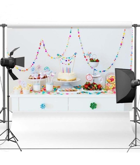 Candy Cake Table Cute White Wall Backgrounds Vinyl cloth High
